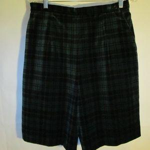 Talbots green black palid lined bermuda shorts
